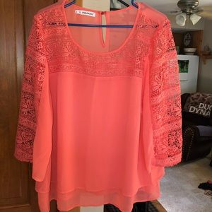 Dressy top with lace sleeves